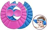 Hemuu 2 PCS Baby Shower Caps Hüte, Kind Einstellbare Badekappe Shampoo Kappe Baby Bade Kappe Hut Duschhaube Kinder Baby Protect Caps Hüte für Babys und Kinder (Blau & Rosa)