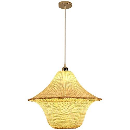 CHNOI Lámpara de techo de bambú hecha a mano de araña, lámpara colgante de techo, estilo japonés, estilo retro, para sala de estar, dormitorio, comedor