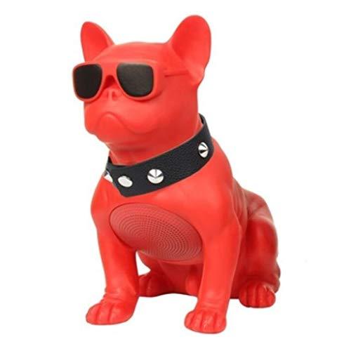 Altavoz Bluetooth portátil, Altavoz bajo del Perro del Altavoz Dual M10 del Altavoz del Bluetooth del Dogo francés, Sala de Estar, Dormitorio, Oficina, Fiesta y Viajes. (Color : Red)