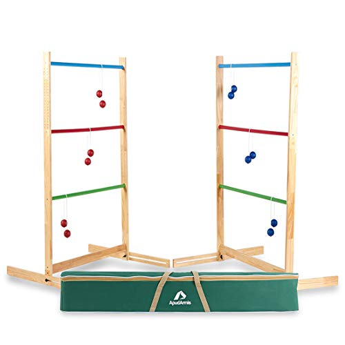 ApudArmis Ladder Toss Game Set, 40x28In Pine Wooden Golf Ladder Lawn Game with 6 Bolos Balls and Carrying Case - Outdoor Backyard Game for Kids Adults Family