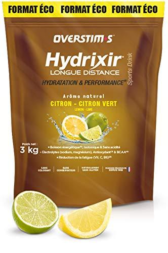 OVERSTIM.s – Hydrixir Longue distance (3kg) - Citron citron vert– Boisson énergétique pour le sport - Protéines, BCAA et Electrolytes - Arômes naturels - sans conservateur.