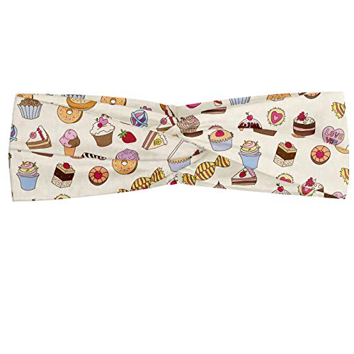 ABAKUHAUS Diadame Postre, Banda Elástica y Suave para Mujer para Deportes y Uso Diario Surtido de Golosinas patrón de dulces helados de chocolate Barras Lollipops Donut, Multicolor