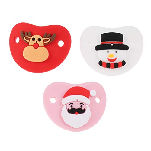 NUOBESTY 3pcs Silicone Pacifiers Santa Claus Snowman Reindeer Pattern Newborn Soother Pacifiers Baby Pacifiers for Newborn