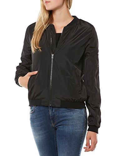 ONLY Damen onlLINEA Nylon Short Jacket OTW NOOS Bomber Jacke, Schwarz (Black Black), 38 (Herstellergröße: M)