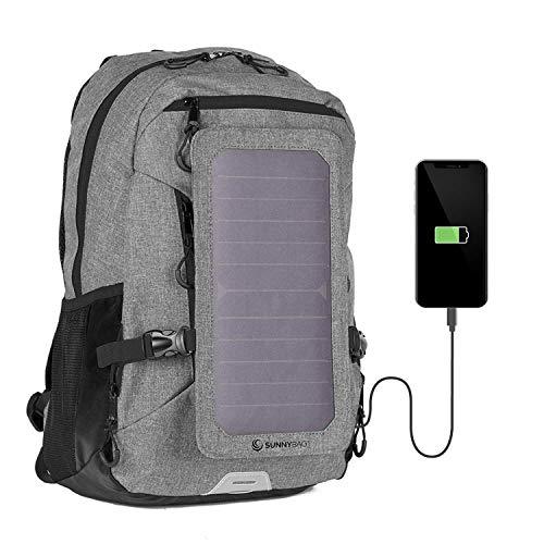Sunnybag Explorer+ Solar-Rucksack mit abnehmbarem 6 Watt Solar-Panel | USB-Anschluss | Inklusive Laptop-Fach für 15,6 Zoll Notebook | 15 Liter | Wasserabweisend | grau-schwarz