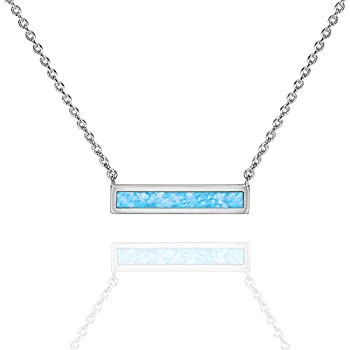 PAVOI 14K White Gold Plated Thin Bar Light Blue Created Opal Necklace 16-18