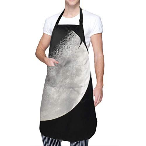LINPM Unisex Schürze, wasserdicht langlebig verstellbar Schließen Detailfoto Half Moon Luna Kochschürzen Lustige Schürzen für Frauen zum Geschirrspülen BBQ Grill Restaurant Garden