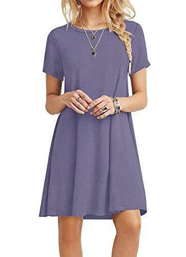POPYOUNG Women's Summer Casual T-Shirt Dresses Beach Dress X-Small, Purple Grey