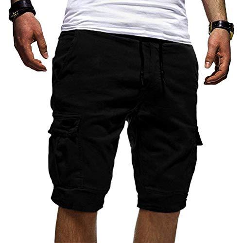 Onsoyours Herren Cargo Hose Shorts Sommer Freizeit Bermuda Kurze Hose Chino Training Jogging Hose Mit Kordel Regular Fit Schwarz X-Large