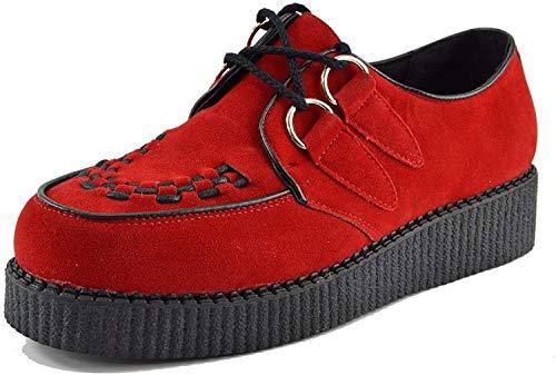 Kick Footwear - Herren Flach Plateau Keil Schnüren Gothic Punk Leisetreter Creepers Schuhe Größe - UK 10 / EU 44, Rot