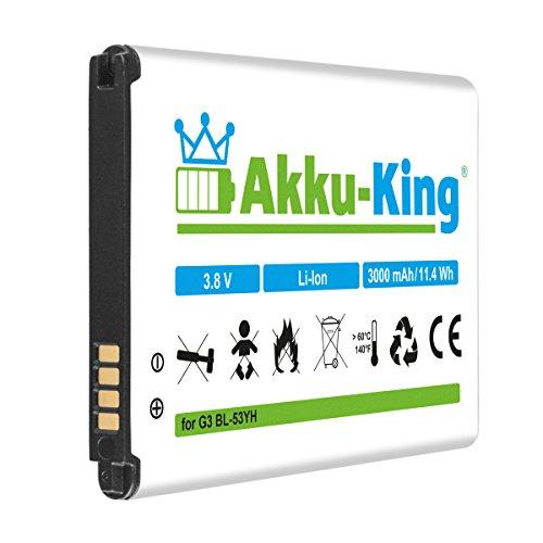 Akku-King Akku kompatibel mit LG BL-53YH, EAC62378905 - Li-Ion 3000mAh - für G3, D830, D850 LTE, D851, D855 LTE, D855AR D855K D855P, LS990 LTE, VS985