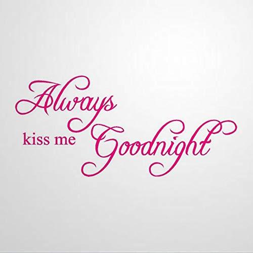 Pegatinas inspiradoras de vinilo para pared y murales de Always Kiss Me Goodnight | Calcomanía de pared para decoración del hogar extraíble para dormitorio, sala de estar, guardería en interiores.