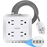 Power Strip with 4 USB Ports, BUPOROY 4 Outlet Surge Protector Extension Cord Wall Mount Charging Station 6 FT Braided Extension Cord, 3 USB-A & 1 USB-C for Desktop, Travel, Home & Office