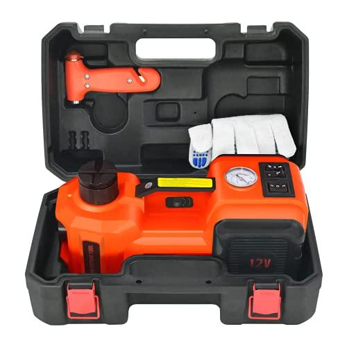 E-HEELP Cric Elettrico 5T 12V Portata di Sollevamento 15-45.5 cm Cric Elettrico Idraulico con Inflator per Cambio Pneumatici SUV