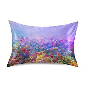 Satin Pillowcase Bedside Pillow Cases Silk Pillowcasecushion Throw Pillows Colorful Cosmos Flowers Luxury Soft Pillow Covers Protectors Home Decorative with Envelope Opening for Adults