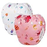 HBLIFE 赤ちゃん水着2点セット水遊びパンツ サイズ調節可能 防水外層 ポリエステルメッシュ内層 オムツカバー スイミング教室・公園・海水浴・温泉旅行・出産お祝いプレゼント (ピンク+白い)