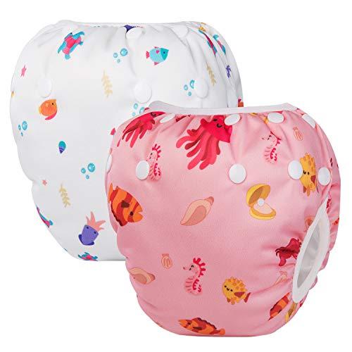 HBselect Baby Schwimmwindeln Kinder Schwimmhose wiederverwendbare wasserdichte Windeln Badewindelhose Badehose verstellbare Größe für 0-36 Monate (Turtle & Sea Horse)