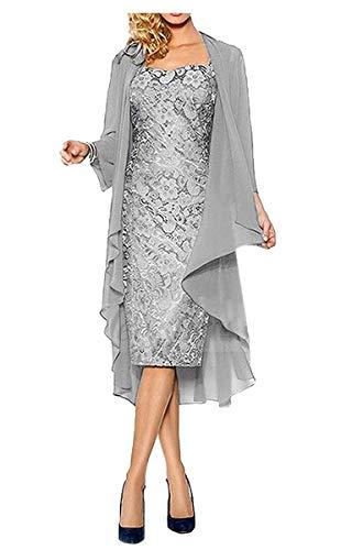ShineGown Damen Kurzes Kleid für Brautmutter mit Jacke Formelle Kleider