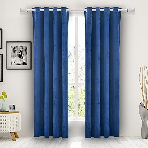 Wisewater Blackout Window Curtain,Velvet Curtains Grommet Blackout Curtains Luxury Window Treatment 2 Panels Light Blocking Curtain Thermal Drapes(Royal Blue, 52' x 84')