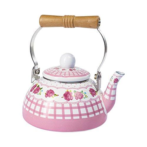 Emaille-Teekessel, Wasserkessel nostalgisch | Teekocher Wasserkocher Flötenkessel Wasserkessel Pfeifkessel, 1,3 l, Stahl, 18x19x15 cm, rosa