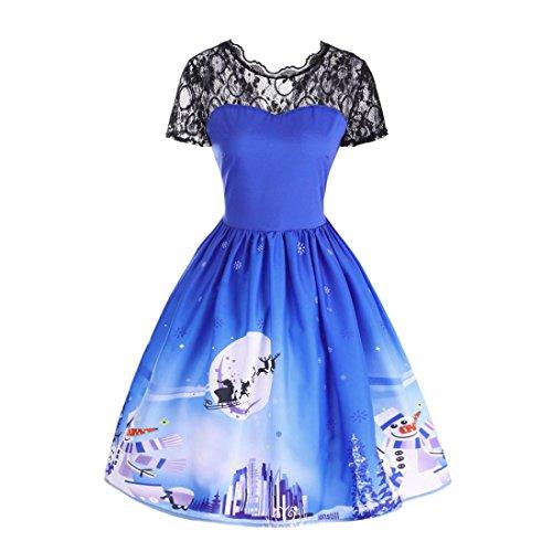 Kleid damen Kolylong® Frauen Elegant Spitze Weihnachten Kleid Retro Rückenfrei Kleid Vintage Rockabilly Kleid Festlich Kleid Kostüm Partykleid Swing Kleid A-linie Kleid Abendkleid (L, Blau)