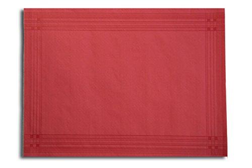 Morigami Mantel Individual, 30 x 40 Cm, Gofrado, 44 Gramos, Cenefa Roja, Set de 800 unidades