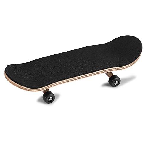 OKBY Griffbretter - 1Pc Ahorn aus Holz + Legierung Fingerboard-Finger-Skateboards mit Box Druck reduzieren Kindergeschenke (Farbe : Black)