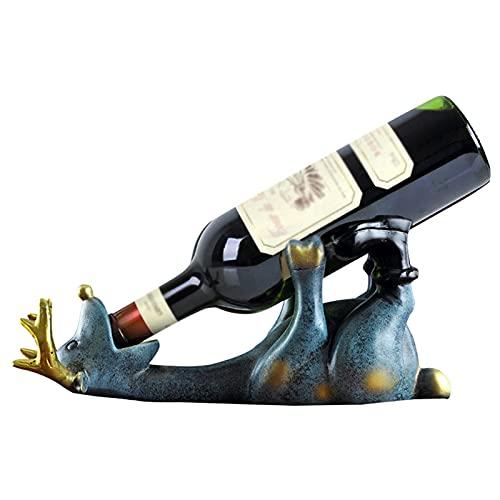 Rvlaugoaa Soporte para Botella De Vino De Ciervo, Estante para Vino, DecoracióN, Adorno para El Hogar, Sala De Estar, Cocina, Comedor, Bar, Mesa, Soporte para Botella Individual para Vino