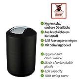 Wenko Kosmetikeimer Brasil L 6,5 Liter, Badezimmer-Mülleimer mit Schwingdeckel, Abfalleimer aus bruchsicherem Kunststoff, Ø 19,5 x 31 cm, schwarz - 5