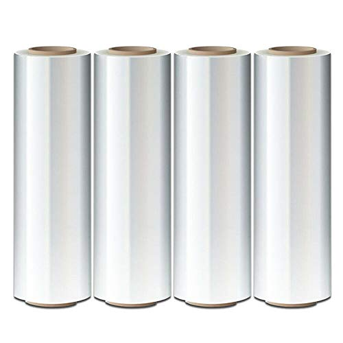"""SoB 4 Rolls Clear Stretch Wrap Industrial Strength 18"""" x1500ft High Performance Stretch Film Replaces 80 Gauge Low Films, Clear Hand Stretch Wrap"""