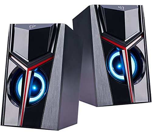 COOSEON Altavoces para Ordenador, Altavoces Multimedia estéreo Luminosos en Color, Altavoces LED duales, Ordenadores de sobremesa,...
