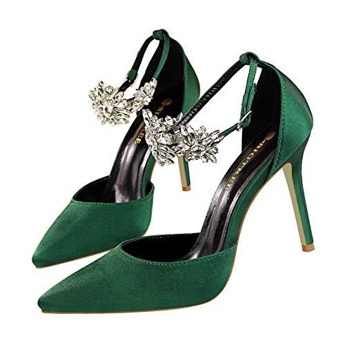 Moquite Sandalias Mujer Decoración de Cristal Tacón Alto Zapatos Apuntado Prom Verano Elegantes Boda Fiesta High Heels