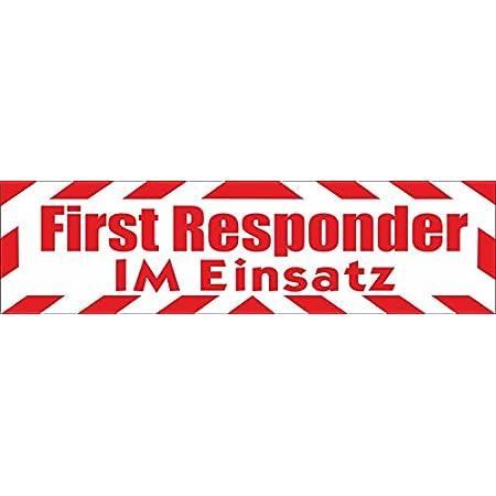 Indigos Ug Magnetschild First Responder Im Einsatz Mit Rahmen 45 X 12 Cm Magnetfolie Für Auto Lkw Truck Baustelle Firma Auto