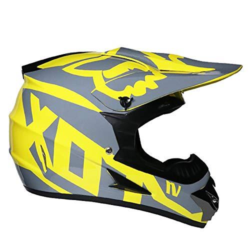 Casco Integral De Motocross Certificado Por DOT, Con Gafas Máscara Facial Guantes Patrón FOX Amarillo Limón Todo Terreno Bicicleta De Montaña Carreras Motocicleta Conjunto De Casco Para Adultos