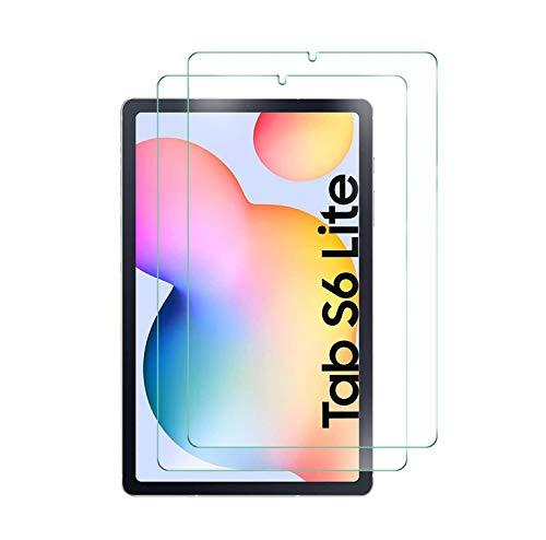 WEOFUN (2 Stück Panzerglas Schutzfolie für Samsung Galaxy Tab S6 Lite 10.4 Zoll,(9H Festigkeit)(Ro&ed Corners 2.5D)(Bubble-frei) HD Klar Bildschirmschutzfolie