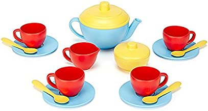 Green Toys Tea Set, Blue/Red/Yellow - 17 Piece Pretend Play, Motor Skills, Language & Communication Kids Role Play Toy. No BPA, phthalates, PVC. Dishwasher Safe, Recycled Plastic, Made in USA.