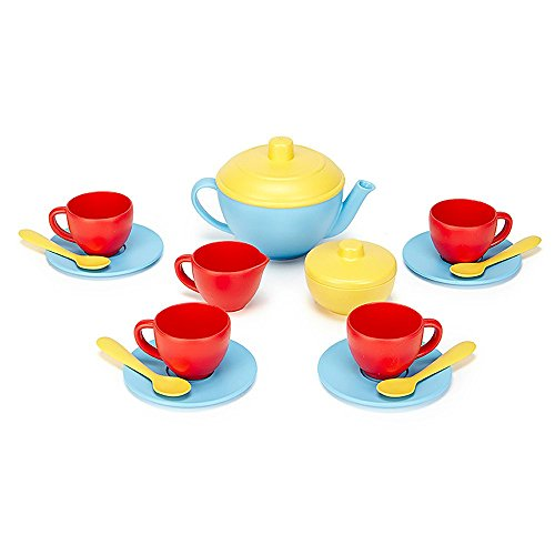 Green Toys Spiel-Teeservice Kinderküche Puppengeschirr, blau