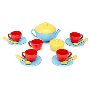 Green Toys Tea Set, Blue/Red/Yellow - 41FxgLcwN4L - Green Toys Tea Set, Blue/Red/Yellow
