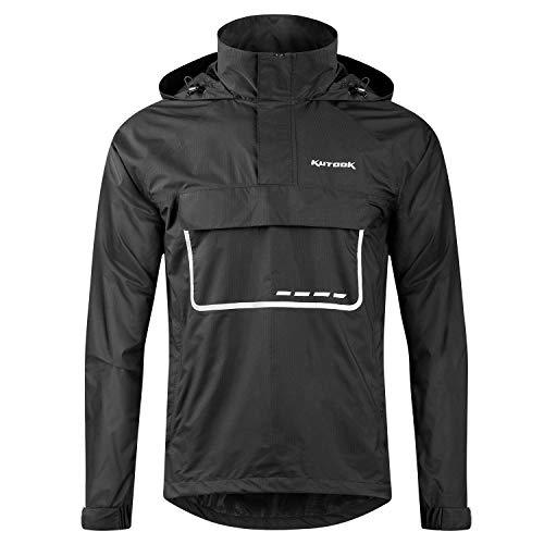 Kutook wodoodporne kurtki męskie z kapturem sweter płaszcz przeciwdeszczowy kurtka dla mężczyzn kobiet ponczo wiatroszczelny damski płaszcz przeciwdeszczowy na zewnątrz odblaskowy z kapturem jazda na rowerze bieganie wędrówki spacery topy czarny L