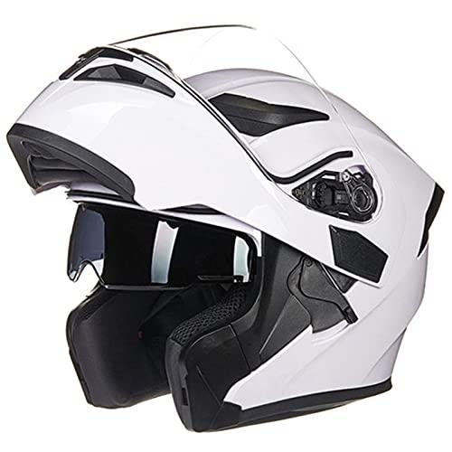 Casco Moto Integral Modular, Casco De Motocicleta Modular Para Mujer Y Hombre Visera Doble Homologado DOT ECE, Casco De Moto De Cara Completa Adultos White,L