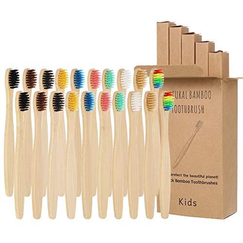 tiopeia 20 Stück Bambus-Zahnbürsten, ergonomischer, biologisch abbaubarer Griff, Kinder-Zahnbürsten