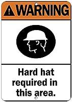 面白いビンテージ金属壁ティンサインこのエリアで必要なハード帽子を警告2684鉄ポスター絵画ティンサインカフェバーパブホームビール装飾工芸品レトロビンテージサインのヴィンテージ壁の装飾