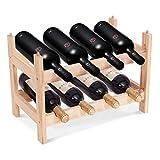 goplus scaffale portabottiglie impilabile in legno massello per 8 bottiglie porta vino a tavolo da casa 43x30x25cm