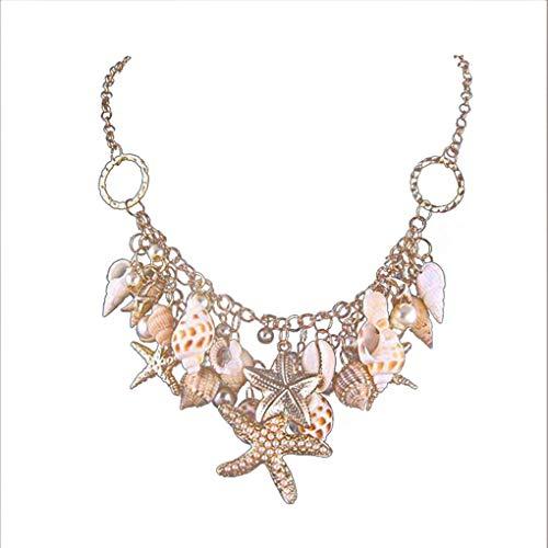Womens Seashell Pearl Starfish Anhänger Halskette Ocean Beach Schmuck lange Kette Minzhi