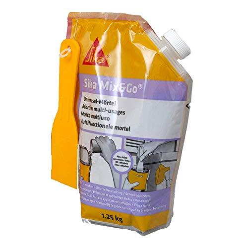 Sika Mix & Go Gris, Mortier multi-usages prêt à mélanger, réparation seuil, épaufrure, linteau et rebouchage fissures, intérieur et extérieur, 1,25kg
