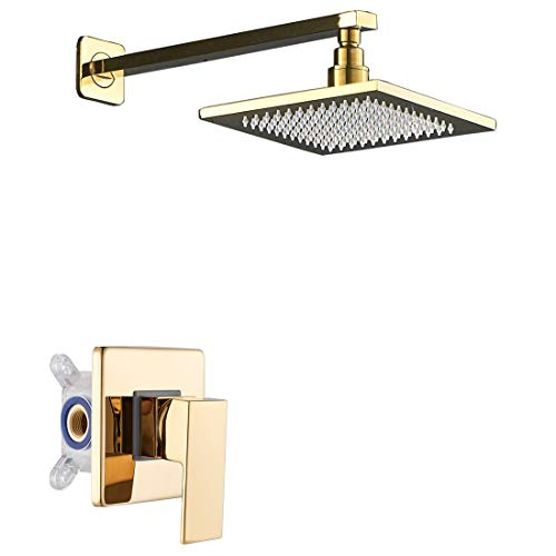Rozin Wall Mounted 8-inch Square Rainfall Shower Head with Single Lever Mixer Valve Gold Polished
