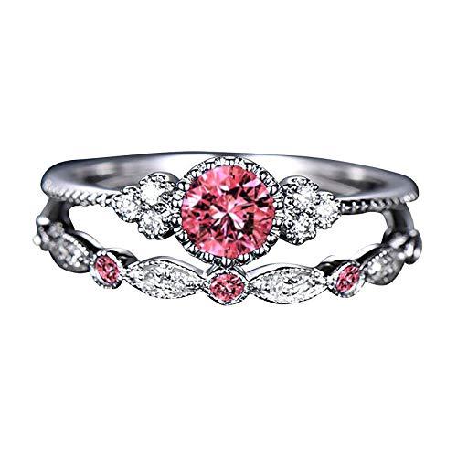 BATKKM Sterling Silver Round Zirconia Bridal Ring Set Women's Fashion Diamond Ring Couple Jewelry 1 Pair Rings Set