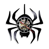 Enofvd Araña Disco de Vinilo Reloj de Pared araña Fiesta de Halloween Creativo Mudo Colgante decoración de Animales Reloj 12 Pulgadas