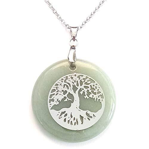 ARITZI - Colgante Redondo de Mineral Natural con símbolo de Árbol de la Vida en Acero - Incluye una Cadena de Eslabones de 50cm de Acero - Venturina Verde