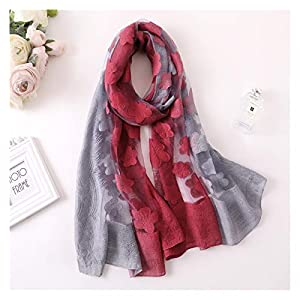 JSJJRFV Scarf Color Matching Women Scarf Summer Silk Scarves for Lady Shawls and Wraps Hollowed Flowers Beach Stoles Bandana Warm